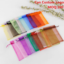 17x23cm Mixed Color Drawable Organza Jewelry Bags Embalagem Para Presente Christmas /Wedding Gift Bags 100pcs/lot Wholesale(China)