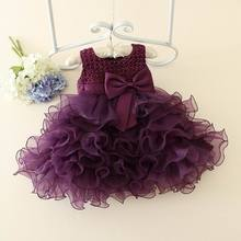 Boutique Girls Dresses for Party and Wedding Formal Evening Romantic Purple Beading Flower Girl Tutu Birthday Dress 1-5T E026(China)