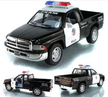 Candice guo! Hot sale Scale 1:44 KINSMART Dodge ram police alloy model car pull back pickup truck 1pc(China)