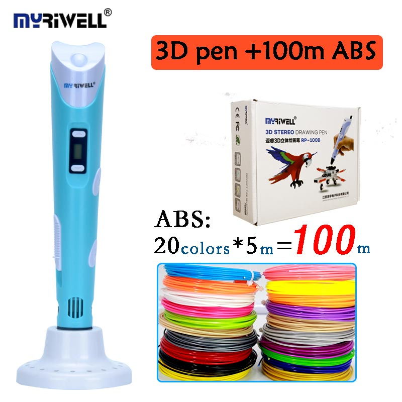 MYRIWELL 3d PEN 2nd generation RP100B add 100M 20color ABS LCD display screen 3D printing pen EU adapter ceative 3D drawing pen <br>