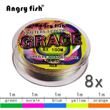 Angryfish Super Braided Fishing Line LiuCai Series 8 Strands 100m PE 5 Colors One Color Per Meter Fishing Wire Rope Weaving(China)