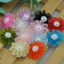15pcs Light blue Ribbon Daisy W/pearl wedding/Appliques/Craft/Girl Lots mix U Pick A214(China)