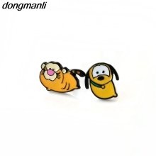 P1272 Dongmanli Enamel Animal Small yellow Dog Stud Earring for Women Mickey pet Pluto Earings Fashion Jewelry children gifts(China)