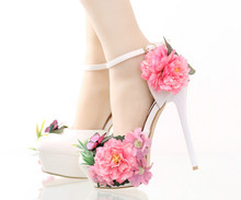 Fashion flowers butterfly high - heeled bride shoes Waterproof table with fine wrist strap dress Sandals wedding shoes