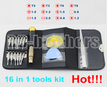 16 in 1 Screwdriver Pry Tool Kit Opening Tools Kit With Leather key Case For Phone (T2/T3/T6/T8/ 0.8Pentalobe /1.5 Philips) 50
