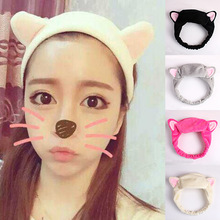 1PC Cute Fashion Women Girls Cartoon Cat Ears Soft Cotton Headband Hairband Makeup Party Christmas Headdress Hair Accessories(China)