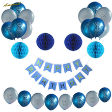 Amawill 25pcs/lot 1st Birthday Boy Decorations Kit Number One Balloon Blue Happy Birthday Banner Tissue Paper Honeycomb Ball 75D(China)