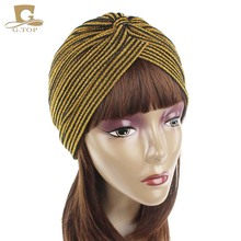 NEW gorgeous striped Shiny Shimmer Glitter Sparkly Turban Hats Hijab cap