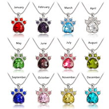 QIHE JEWELRY Simulated birthstone necklace Rhinestone paw print charm necklace Personalized birthstone jewelry Birthday gift(China)