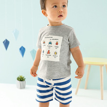 2pcs/set Baby Boys Shorts Sets Grey Short Sleeve T-shirt and Striped Short Pants Set 1-6T Children's Clothing Wholesale Retail(China)