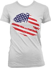 New Summer Style Printed Cotton Summer Short Sleeve Cotton American Lips, ips With Us Flag, Us Pride Juniorsneon T Shirts(China)