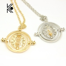 Free Shipping Printed Hermione Rotating Time Turner Gold/Silver Necklace Granger Props Gift Box Necklace(China)