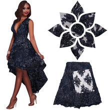 Embroidered Lace Appliques French Lace, Navy Blue Handmade Beads French Lace Fabric High Quality Aso Oke African Lace MR1051B(China)