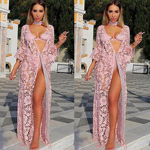 Sexy Women Crochet Lace Evening Party Dress Maxi Long Dress Women Clothing Party Sundress Cover