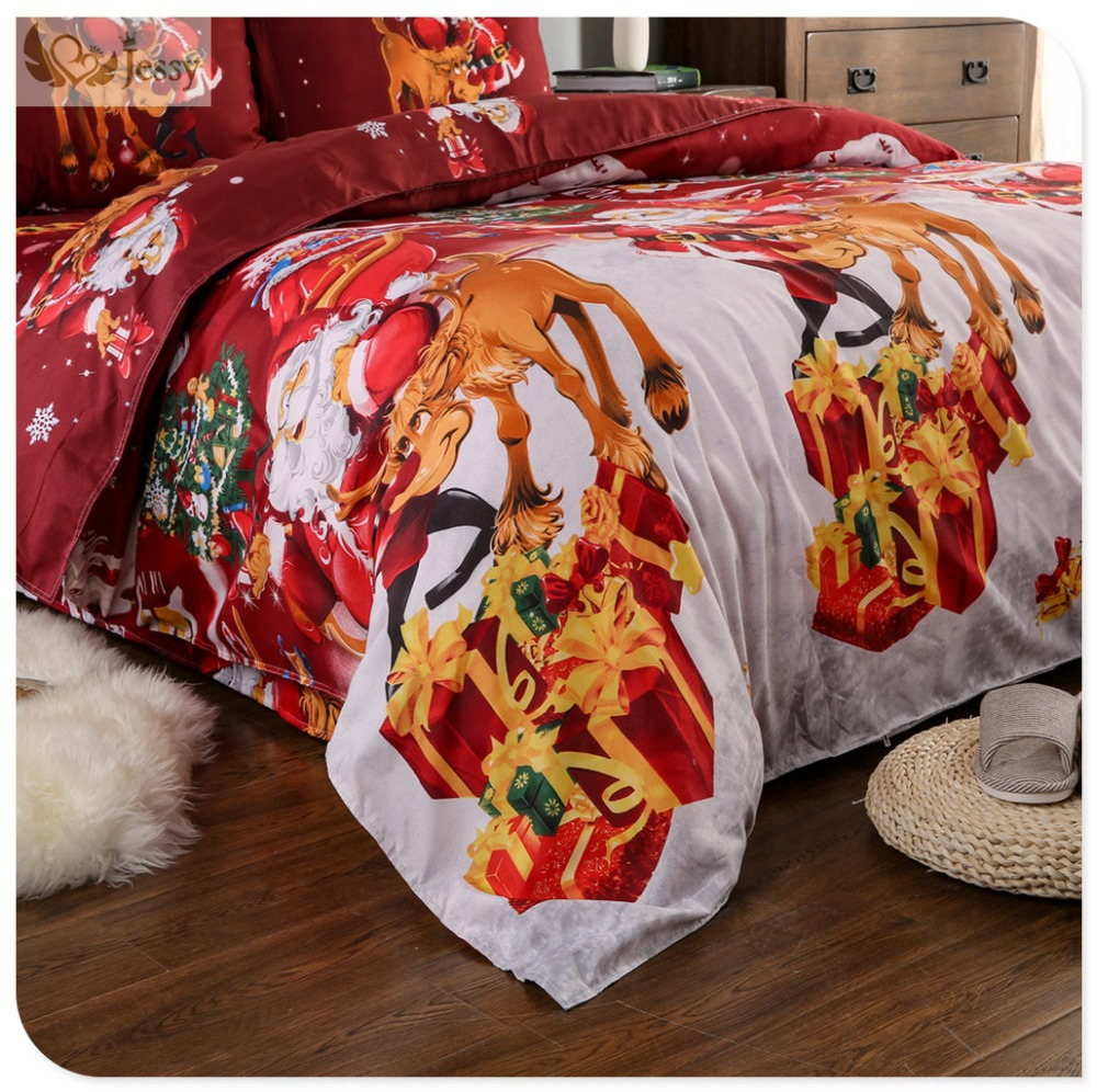 Great For Christmas, Set 4Pcs Christmas Santa Clause, 3D Bedding Set Duvet Cover Set,Sheet, Pillowcase, Sham Covers 21