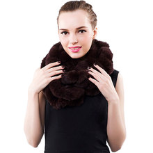 Women Real Fur Scarves Knitted Rex Rabbit Fur Fashion Luxury Brand New Shawl Scarvf Solid Black/White Color Russian Winter Scarf(China)