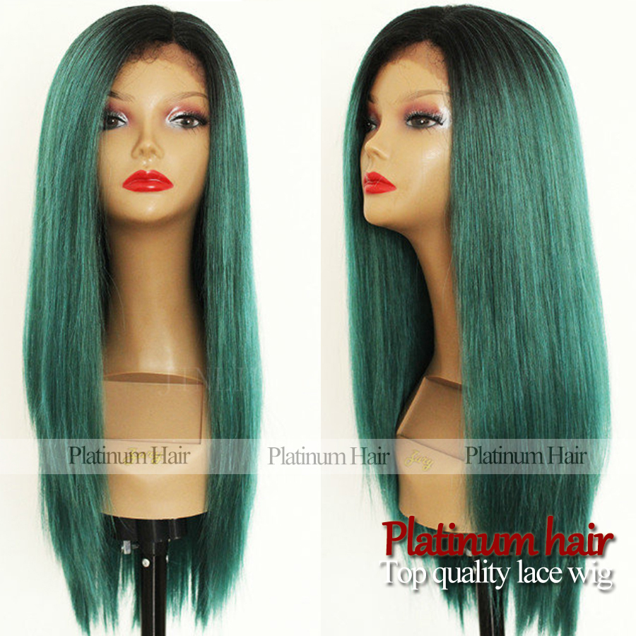 Fashion top selling glueless heat resistant ombre black green color silk straight wig synthetic lace front wig for women<br><br>Aliexpress