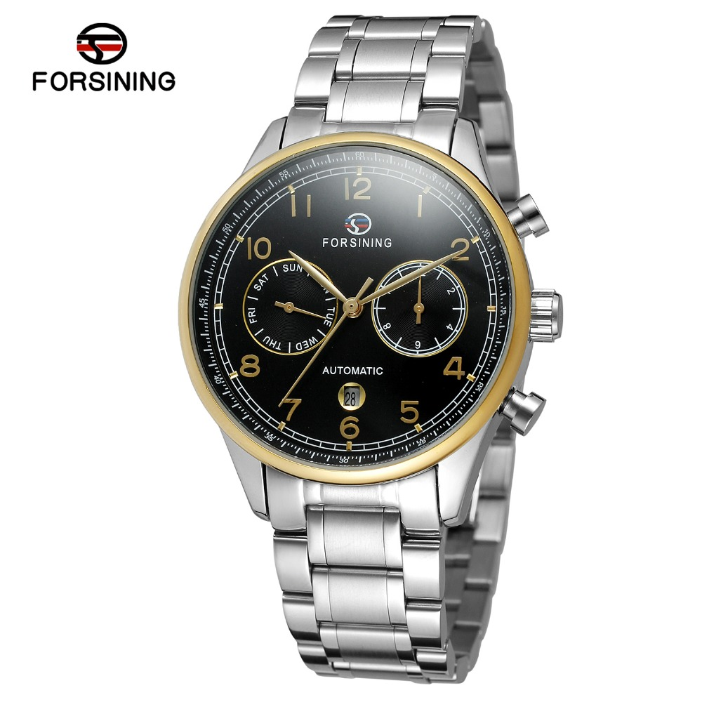 FORSINING Mens Luxury Branded Automatic Stainless Steel Bracelet Analog Date Casual Watch Sport Design Montre Homme Clock <br>