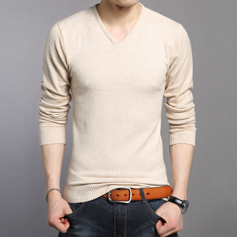 New All-match Knitted Bottoming Shirt Soft Warm Cashmere Sweater Men Brand Clothing Slim Fit V-Neck Pullover Men Wool Sweaters
