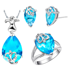 Fascinating Women  Anniversary Necklace/Ring/Earrings Blue Oval  Zircon  Decorative Design White Gold Jewelry Sets  T081-6#