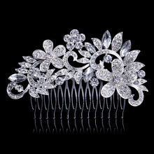 2015 flower crystal wedding hair comb zinc alloy metal hair pins silver Plated wedding hair Accessories bridal women mariage