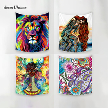 DecorUhome Abstract Colorful Animal Wall Decorations Beach Towels Home Decor Hanging Living Yoga Mat Dog Printing Wall Tapestry