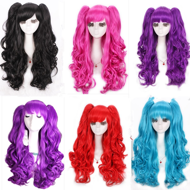 Hot Sale 60cm Long Blue Black Purple Curly Lolita Cosplay Wigs With Two Ponytails 7 Colors<br><br>Aliexpress