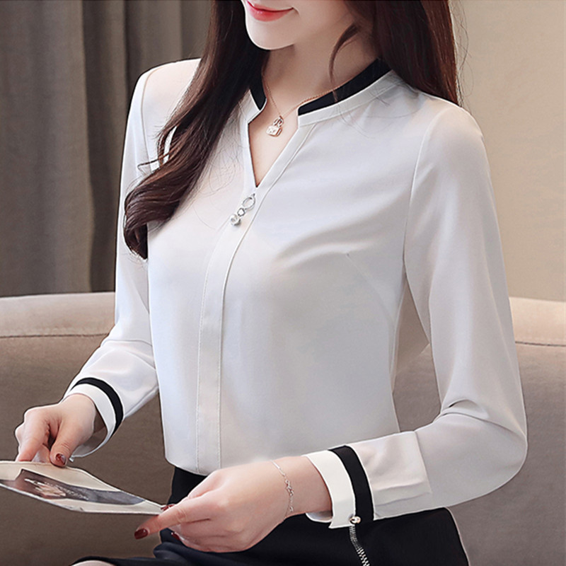 Women Blouse Chiffon Blusas Summer/Spring Casual Long Sleeve V-Neck Solid Loose Pullover Feminino Shirt Tops Plus Size Tops(China)