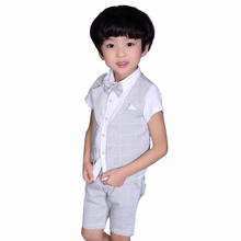 Summer Baby Gentleman Boys Clothing 2017 England Style Wedding Birthday Party Costume 3Pcs 2 4 6 7 8 9 Years Children Vest Suit