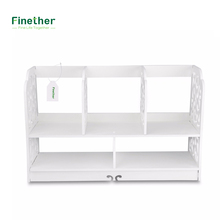 Finether 2-Tier Cut-Out Wood Plastic Composite Shelf Unit Desktop Organizer Storage Rack with 5 Compartments for Home Kitchen