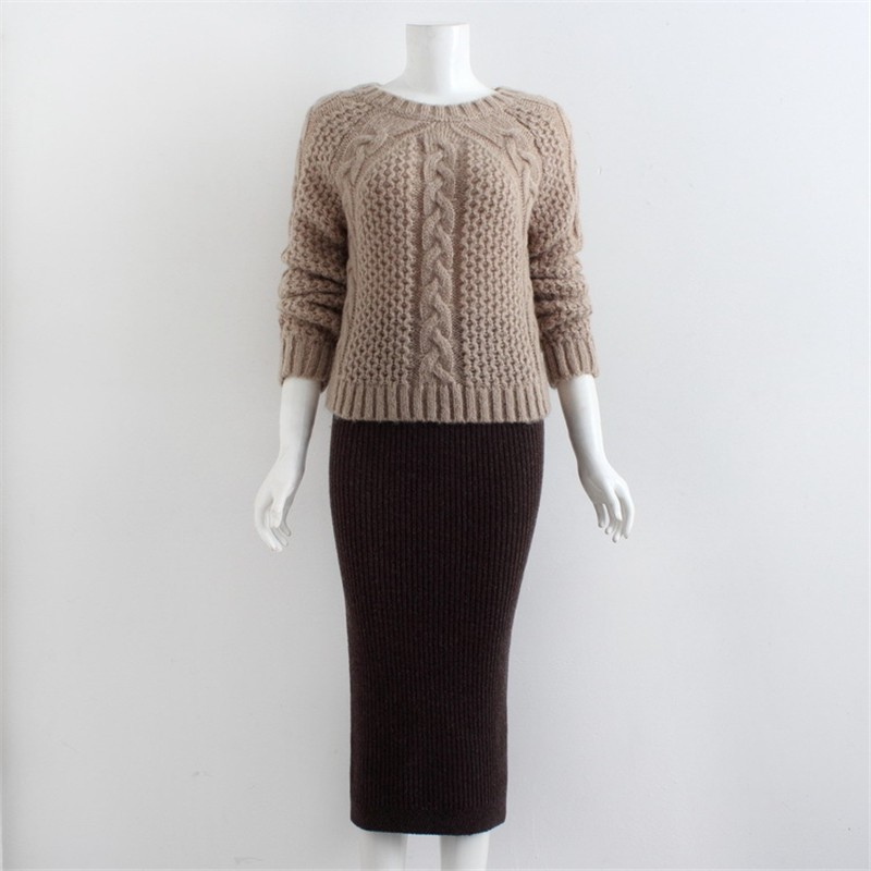 Fashion Sweater And Skirt Two Piece Set Women 17 Sexy Slim Fit Knitted Suit Twinset Clothing Hot Sale 9