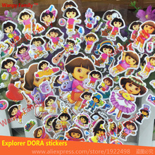Clever lovely dora wall stickers,3D Cartoon dora stickers,For Kids rooms decor stickers.kids Birthday Gift toys sticker