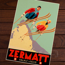 Ski in Zermatt Skiing Vintage Retro Kraft Decorative Paintings Poster Maps Home Bar Posters Wall Decor Gift Wood Alloy Frame(China)