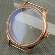 Parnis 44mm rose gold Case watch  Fit eta 6497 6498 Seagull st36 Movement mens watches
