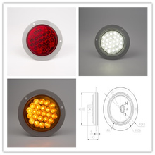 "1pair 24v 4""red amber round led Trailer lamp Truck lights Lorry Bus Stop Lamp Brake light Tail Turn LIGHTS(China)"