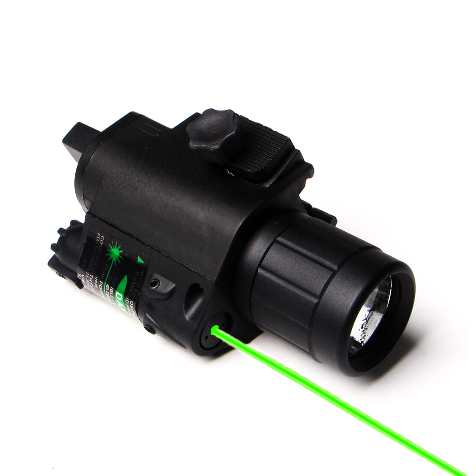 2 in 1 Combo Tactical Pulsed Green Laser Sight with 200LM LED Q5 Flashlight for Hunting Rifle and Pistol Glock 17 19 22<br>