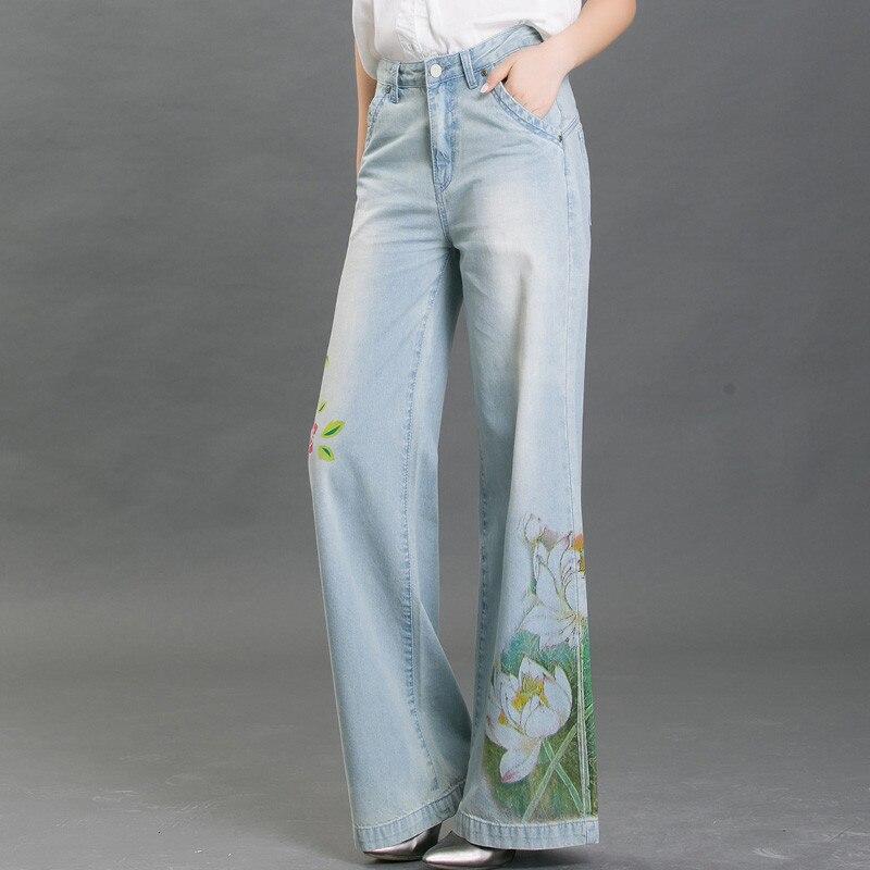 Spring Summer Vintage Printing Wide Leg Denim Flare Jeans Women Plus Size Cowboy High Waist Jeans Femme Loose Long Pants C3170Îäåæäà è àêñåññóàðû<br><br>