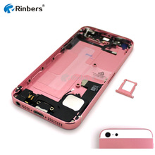 Dark Blue/Pink/Red Full Assembled Middle Frame Bezel Chassis Battery Door Back Cover Housing Assembly Replacement for iPhone 5