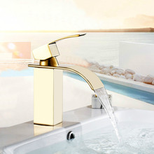 Precision Copper Gold Faucets Bathroom Basin Wide Mouth Waterfall Faucet Torneiras Bathroom Mixer(China)