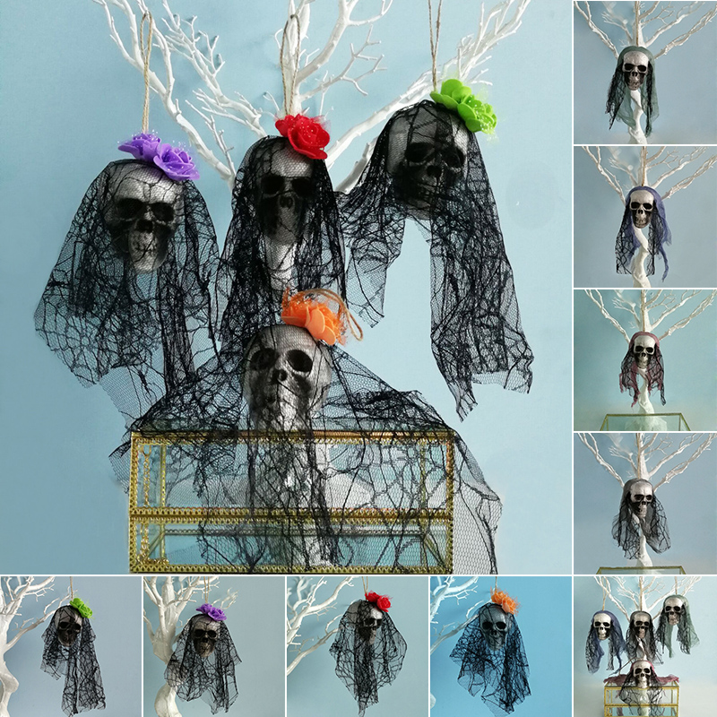 Scary Skull Hanging Ornaments Skeleton Ghost Foam Skull Prop Halloween Home Party Decoration Supply