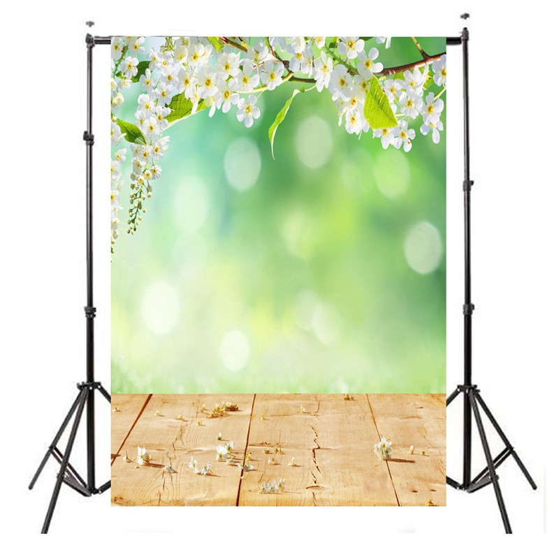 5X7 FT Green White Flower vinyl Photography Background Studio Photo Prop Wood Floor photographic Backdrop cloth 210cm x 150cm<br><br>Aliexpress