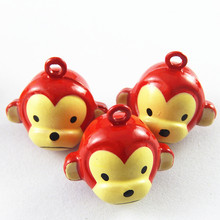 5pieces Cute Jingle Bells Carton Monkey Necklace Pendant Charms Christmas Phone Pet Home Decor Baby Jewelry Gift 22*20mm 51924(China)