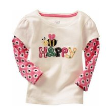 Autumn Baby Girl Floral Print TShirts Kids Cotton Pullover Tees Tops Long Sleeve Clothing Hot