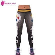 Pink Queen Fall Light Gray Pants STEELERS 3d Digital Grey Waist Fashion Printing Leggins Printed Women Leggings Pants(China)