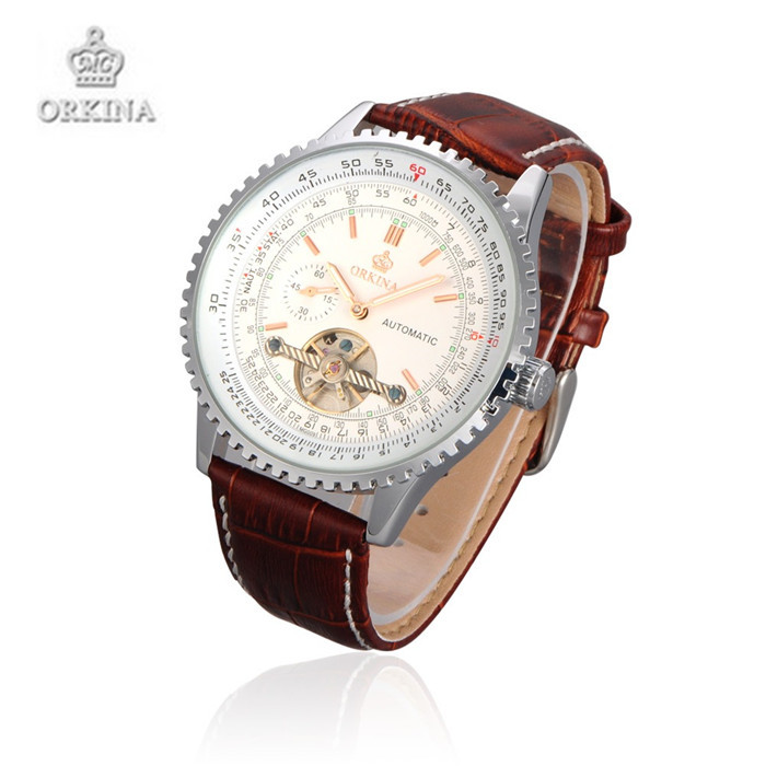 Orkina Luxury Brand Wristwatches Big Dail Men Automatic Mechanical Watches Leather Strap Watch Gift For Men<br>