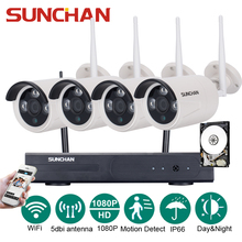 SUNCHAN 4CH Array HD Home WiFi Wireless Security Camera System DVR Kit 1080P CCTV WIFI Outdoor Full HD NVR Surveillance Kit