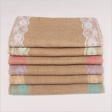 Table Runner Natural Jute Rustic Burlap Lace Table Runner Wedding Party Christmas Decoration Table Flag Wedding Decor