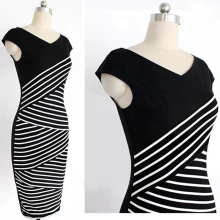 Black White Stripe Stitching Pencil Dresses for Women Summer V Neck Dress Female Knee-Length Party Bodycon Dress