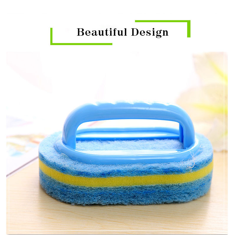Kitchen Cleaning Bathroom Toilet Kitchen Glass Wall Cleaning Bath Brush Plastic Handle Sponge Bath Bottom 2