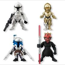 4pcs/lot Disney Star Wars Action Figure Model Toy Darth Maul Clone Troops Jango Fett C-3PO Black Clone Trooper Robot Vader Gift